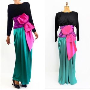 VINTAGE 1980 COUTURE EVENING SILK GOWN